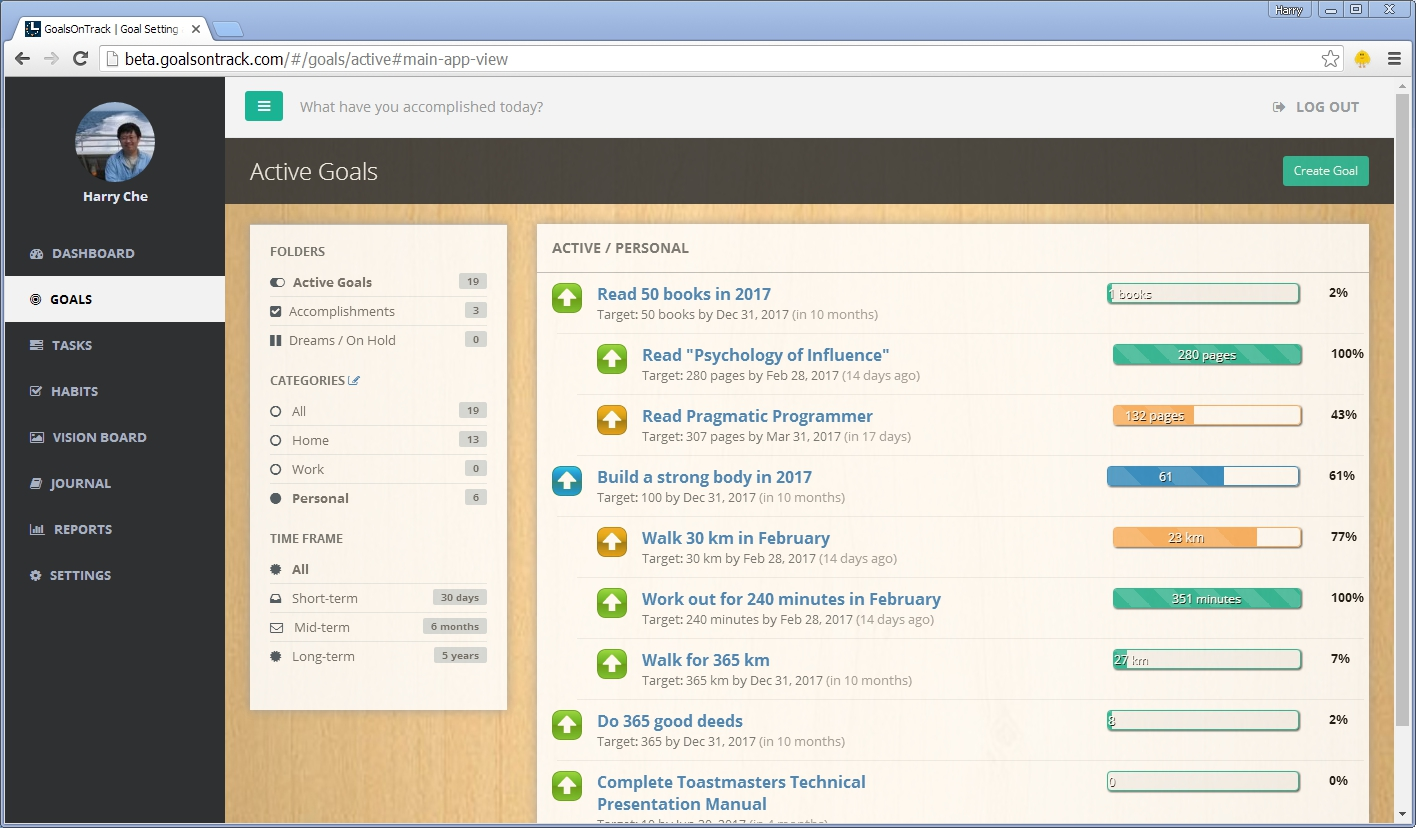 GoalsOnTrack - Goal Software for High Achievers